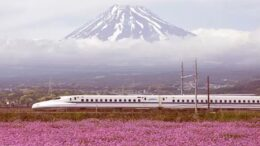 japan train travel past mount fuji