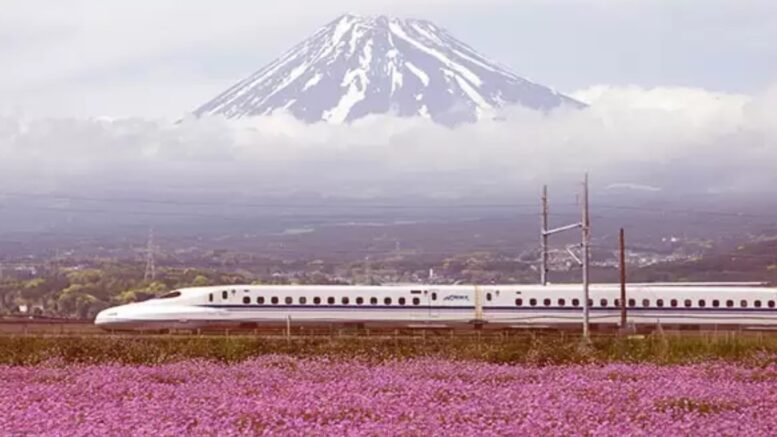 japan train travel past mount fuji